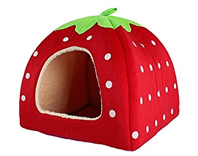 Leegoal Strawberry Small Cotton Soft Dog Cat Pet Bed House (Red, L)