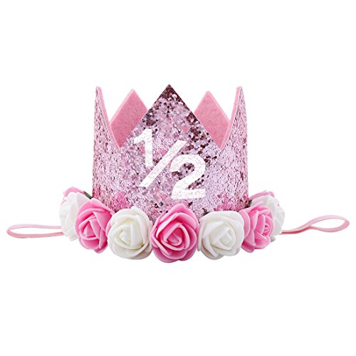 Infant Pink Princess Crown Hat (Baby Birthday Crown Girl Kid Rose Flower Party Hat Headband Hairband Hair Accessories Pink White 1/2)