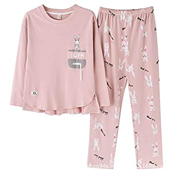 Pijamas de Mujer Algodón Manga Larga Dulce Encantador Chándal Ocio ...