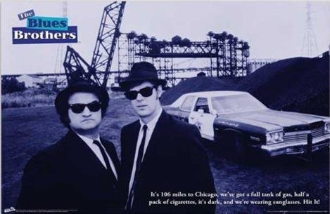 Four Brothers Movie Poster - Blues Brothers 1980 - 106 Miles to Chicago 36x24 Movie Art Print Poster Dan Aykroyd John Belushi Jake and Elwood