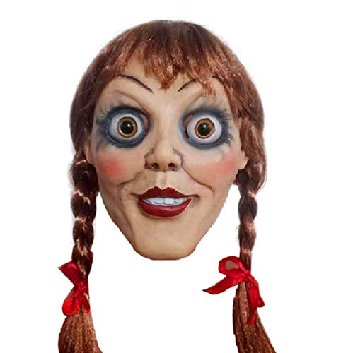 Annabelle 3 Latex Mask Halloween Scary Doll Head Hood Cospaly Costume Cool ()