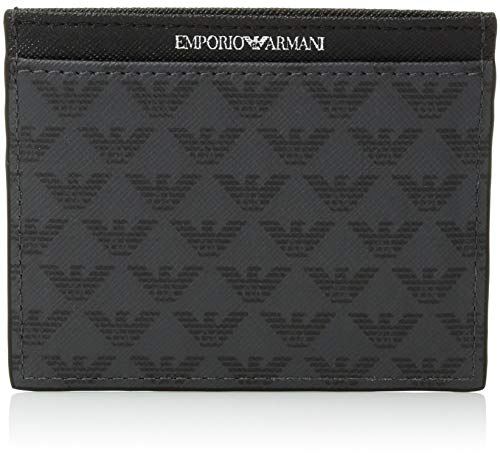 Emporio Armani All Over Logo Credit Card Holder, Black