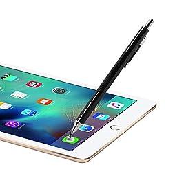 amPen Stylus Retractable Disk Stylus (Black) for iPad, iPad Air, iPad Mini, iPhone 6, iPhone 6 Plus, Galaxy S6, Galaxy Tab Tablet Series (Interchangeable Disk Tip)