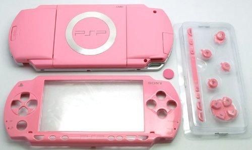 Pink Full Housing Repair Mod Case Shell Faceplate Case + Buttons Replacement for Sony PSP 1000 (Pink Psp Console)