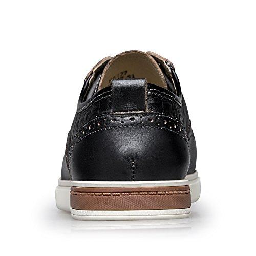 Zro Heren Vleugeltip Casual Leren Oxford Sneaker Schoenen Grijs