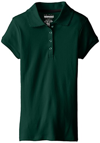 Nautica Big Girls' Uniform Short Sleeve Polo with Picot, Forest Green, Large