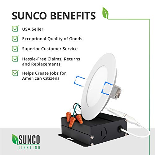 Sunco Lighting 16 Pack 4 Inch Slim LED Downlight with Junction Box,10W=60W, 650 LM, Dimmable, 3000K Warm White, Recessed Jbox Fixture, IC Rated, Simple Retrofit Installation - ETL & Energy Star by Sunco Lighting (Image #8)