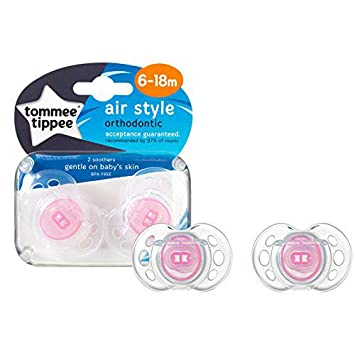 Tommee Tippee Fun Soother Air Shield 18-36 Months Pink Pack of 2 BPA Free UK