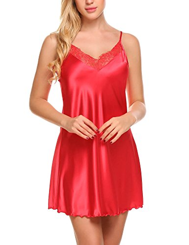 Nightgown Red Chemise (Ekouaer Women's Satin Lace Trim Slip Chemise Nightgown,Red)