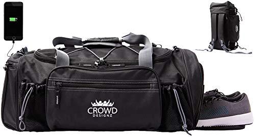Crowd Designz - Smart Gym Bag with Deodorizer, USB, Shoe Compartment, Backpack Straps, Adjustable Bottle Shaker Holder. 22