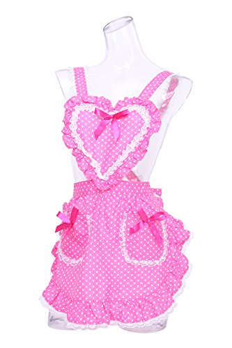 Heart Pink Dot Frill Apron by Clear Stone