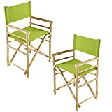 Zew Hand Crafted Foldable Bamboo Director's Chair with Treated Comfortable Canvas, Set of 2 Folding Chairs, Green