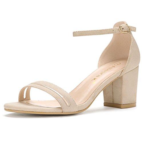Beige Ankle Strap Womens 2 Heel K Block Allegra Sandals wTf0qznx