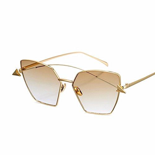de XIAOGEGE negras gafas gradiente personalidad mujeres Oro El sol claro gafas color nueva de grandes de La sol las transparente cara Yg4nrWYT