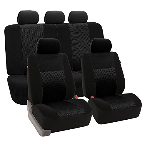 Hoodie Kids 2008 - FH GROUP FH-FB060115 Full Set Trendy Elegance Car Seat Covers, Airbag compatible and Split Bench Solid Black color- Fit Most Car, Truck, Suv, or Van