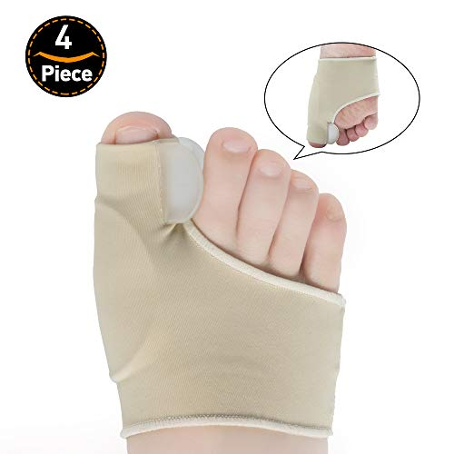 Welnove Gel Bunion Corrector Fabric Protector Sleeves Toe Separators for Bunion Pain Relief, Big Toe Alignment, Hammer Toe, -2 Pairs Gel Bunion Toe Spacers Pads by Welnove