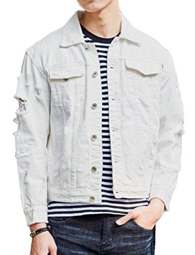 DSDZ Men`s Retro Vintage Washed Ripped Hip Hop Motorcycle Denim Jacket White ()