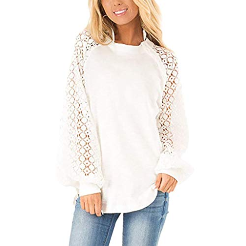 QQ1980s Womens Casual Lace Tops Buttoned Tops Long Sleeve O-Neck Sweatshirt Blouse