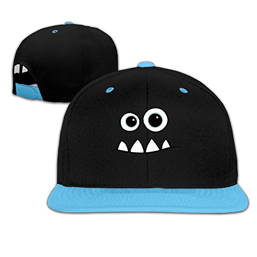 Toddler Monster Face Fendi Mike Contrast Color Flat Bill Hat (Flat Bill Hat Monster)