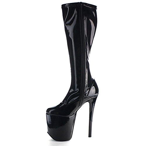Slingrande Kvinnor Tramp 2000 Läderklänningen Boots Svart Str Pat / Svart