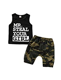 Heiner Toddler Baby Boy Clothes Vest T Shirt Tops+Camouflage Shorts Pants Outfits Set(3 Month-3 Year