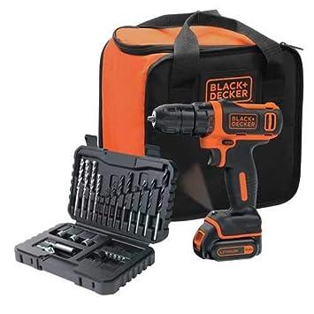 Black+Decker bdcdd12s32 a-qw atornillador inalámbrico litio 10, 8 V – 32 accesorios + bolsa de almacenamiento, 10, 8 V, Set de 2 piezas