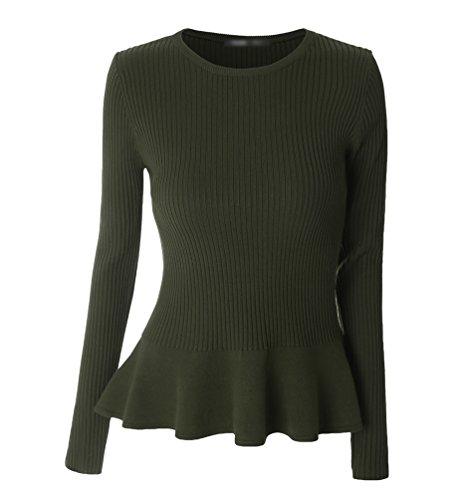 ZKOO Mujeres Manga Larga Cuello Redondo Suéter Doblar Dobladillo Jerseys Prendas De Punto Pullover Camiseta Top Blouses Otoño Invierno Beige Ejército Verde