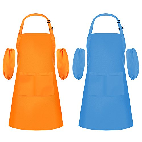 Syntus 2 Pack Child Apron Adjustable Kid Bib Aprons Water Resistant with 2 Pockets Kitchen Painting Aprons with 2 Pairs of Oversleeves for Art, DIY, Cooking by Syntus