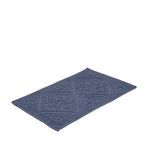 Tapete Para Casa Buddemeyer Tivoli Azul 50cmx80cm 100% Algodão com Base Antiderrapante