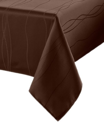 Benson Mills Gourmet Spillproof Fabric Tablecloth, Chocolate, 60-inch-by-104-inch by Benson Mills