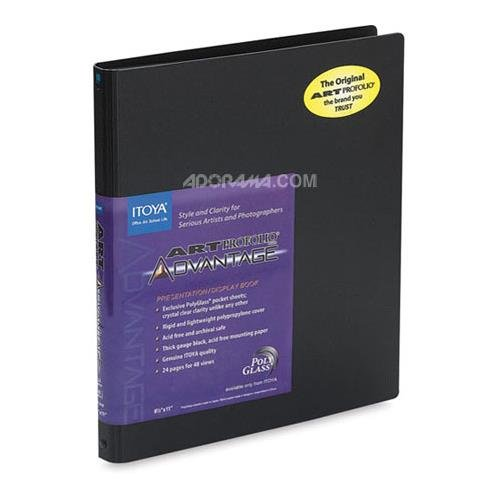 Itoya AD24-12 Art Profolio Advantage Presentation Book, 24 Sheet Protectors with Black Mounting Paper, 11 X 17 inches, Black by Profolio