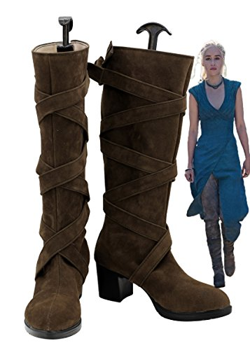 Game of Thrones Daenerys Targaryen Cosplay Shoes Boots Brown High Heel (Daenerys Costume Buy)