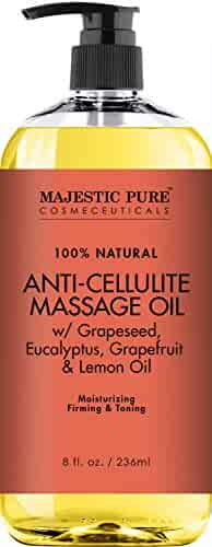 Majestic Pure Anti Cellulite Treatment Massage Oil, Unique Blend of Massage Essential Oils - Improves Skin Firmness, More Effective Than Cellulite Cream, 8 fl oz