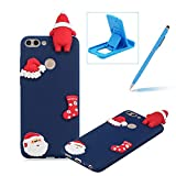 TPU Case for Huawei P Smart,Soft Rubber Cover for Huawei P Smart,Herzzer Ultra Slim Stylish 3D Christmas Santa Claus Series Design Scratch Resistant Shock Absorbing Flexible Silicone Back Case - Dark Blue