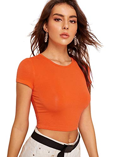 SweatyRocks Women's Basic Short Sleeve Scoop Neck Crop Top Orange S
