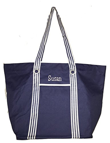XL Heavy Duty Beach Bag Tote with Zippered Top and Reinforced Mesh Handles (Navy - Personalized)