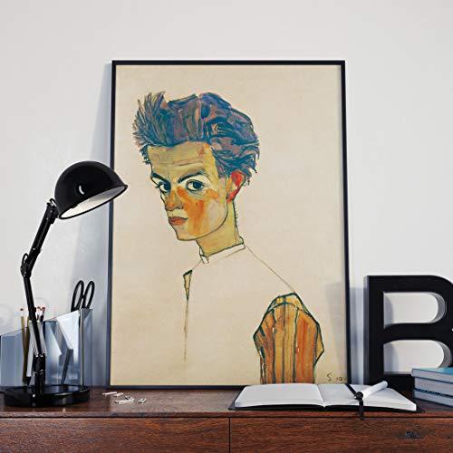 sun81814 Egon Schiele Self Portrait with Striped Shirt Egon Schiele Art Egon Schiele Painting Expressionist Painting Egon Schiele Prints Egon Poster (Egon Schiele Self Portrait With Striped Shirt)