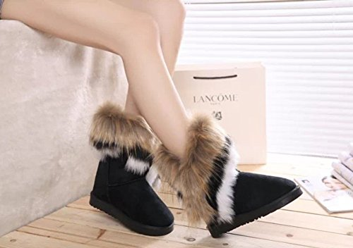 Review King Ma Women's Faux Fur Tassel Winter Snow Boot Suede Flat Ankle Boots