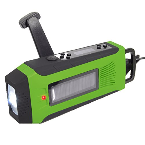 Weather Radio Outerdo Emergency Radio Survival Solar Hand Crank Self Powered Am Fm Noaa Weather Radio  Led Flashlight Phone Charger Power Bank With Cables  4 Color To Choose  Green