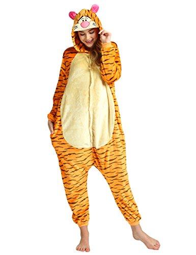 [Ninimour Unisex Adult Kigurumi Pajamas Cosplay Costume Sleepwear Orange Tiger XL] (Plus Size Tiger Costumes)