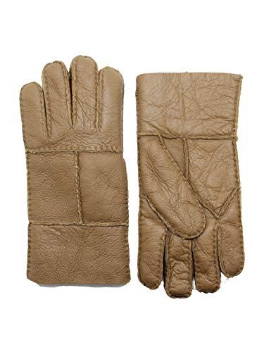 YISEVEN Mens Winter Sheepskin Shearling Leather Gloves Flip Cuff
