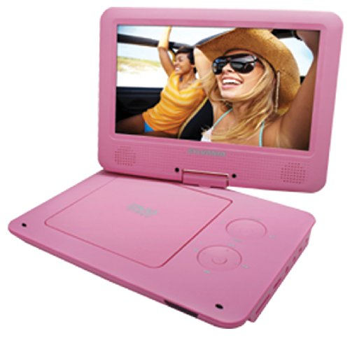 Sylvania 9-Inch Swivel Screen Portable DVD/CD/MP3 Player with 5 Hour Built-In Rechargeable Battery, USB/SD Card Reader, AC/DC Adapter, Pink (Dvd Player Portable Sylvania)