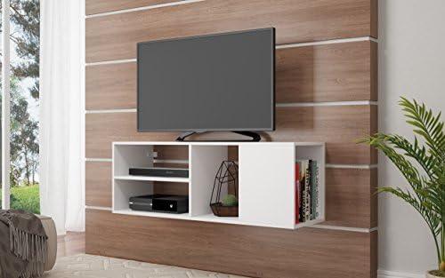 Amazon Com Manhattan Comfort Minetta Mid Century Modern Floating Tv Stand White Furniture Decor