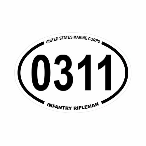 0311 United States Marine Corps MOS 0311 Infantry Rifleman - Oval Full Color Printed - (size: 5