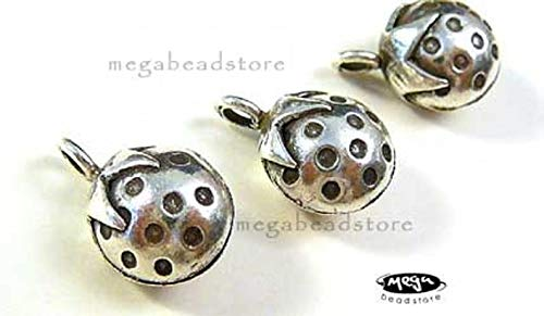 (Design Ideas - Strawberry Bell Charm 925 Sterling Silver Karen Hill Tribe Thai Beads KF4-1 pc - Unique Selection Beads)