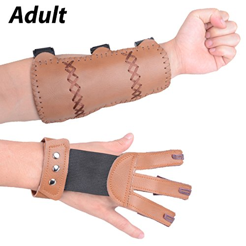 XTACER (Finger Protector & Arm Guard 3-Strap Arm Guard with Three Fingers Design Archery Finger Protector Traditional Shooting Glove (Brown) (Extra Large Finger Guard)