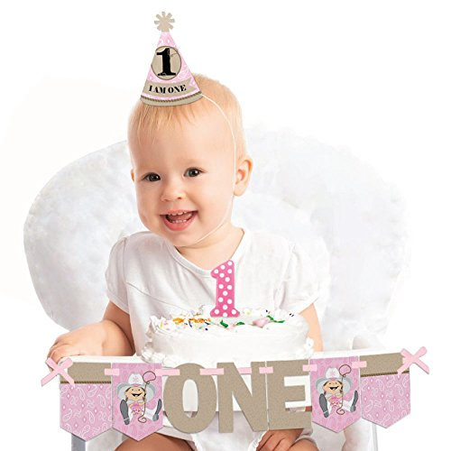 Big Dot of Happiness Little Cowgirl 1st Birthday - First Birthday Girl Smash Cake Decorating Kit - High Chair Decorations]()