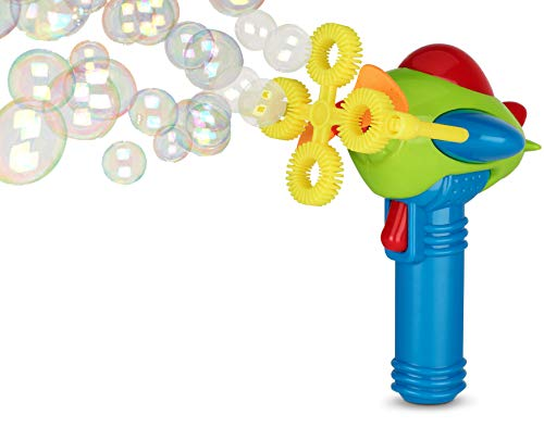 Bubble Gun Blower for Kids (Boys & Girls) - Dip&Press with Fan | Toy Blaster with Soap Solution | 4 Wands Futuristic Shooter | Fun, Colorful, Indoor & Outdoor | Leak-Resistant | Parents & Toddlers