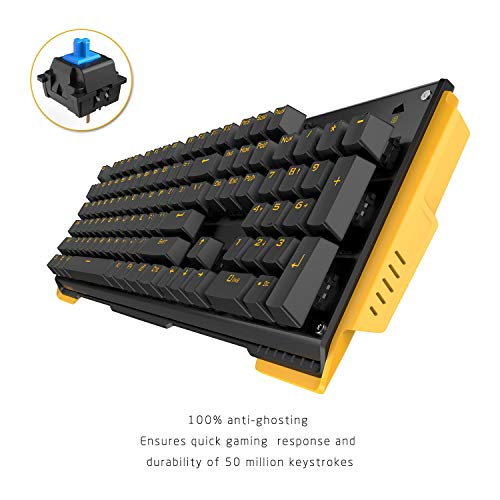 James Donkey 619 Mechanical Keyboard Blue Switch GATERON 104 Key 50 Million Click Programmable 13 Customize Backlit LED NKRO Anti Ghosting USB Wired for Gaming PC Desktop Office Laptop - Black