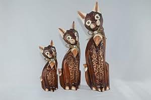 Los gatos figuras de madera en el conjunto de tres de Indonesia/Bali 30 cm, 40 cm, 50 cm: Amazon.es: Hogar